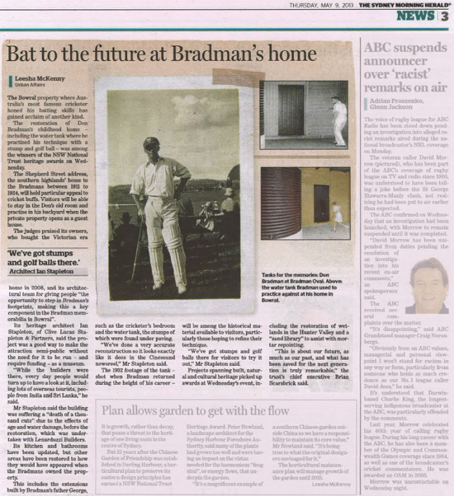 Sydney Morning Herald article on National Trust Heritage Award